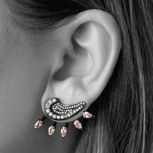Brinco Ear Jacket Luna Fumê | Lanarée Acessórios