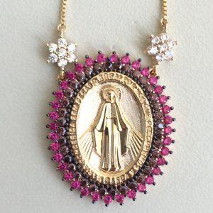 Colar Nossa Senhora das Graças Rubi | Lanarée Acessórios