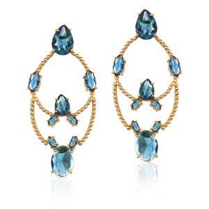 Brinco Bari Cristal Swarovski Azul Montana | Lanarée Acessórios