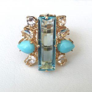 Anel Turquesa Com Cristal Swarovski Light Silk Lis | Lanarée Acessórios