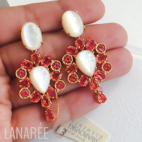 Brinco Bora Bora Cristal Swarovski Rose Peach | Lanarée Acessórios