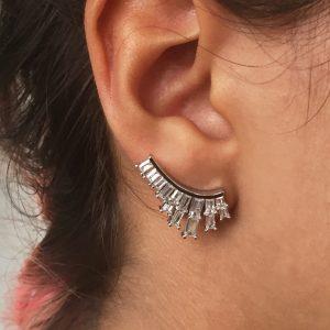 Ear Cuff Baguete 2 Linhas | Lanarée Acessórios