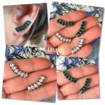 Ear Cuff Isabella Esmeralda | Lanarée Acessórios
