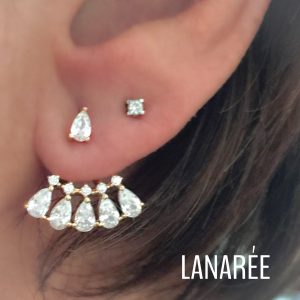 Brinco Ear Jacket Gotas Beatrice Ouro   Lanarée Acessórios