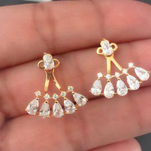 Brinco Ear Jacket Gotas Beatrice Ouro | Lanarée Acessórios