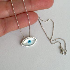 Colar Olho Grego Prata | Lanarée Acessórios