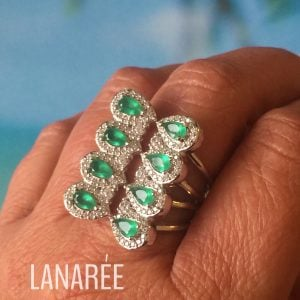 Anel Cristal Ágata Verde | Lanarée Acessórios