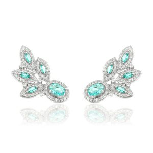 Brinco Ear Cuff Cristal Paraíba Azul| Lanarée Acessórios