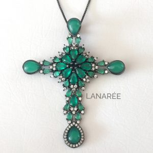 Colar Crucifixo Cristal Ágata Verde | Lanarée Acessórios