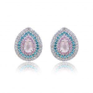 Brinco Gota Quartzo Rosa em Prata 925 | Lanarée Acessórios