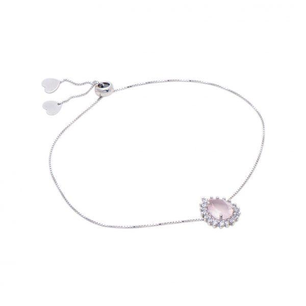 Pulseira Quartzo Rosa em Prata 925 Ajustável | Lanarée Acessórios