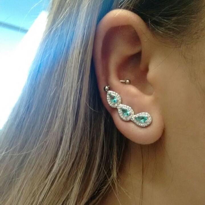 Brinco Ear Cuff Turmalina Gotas | Lanarée Acessórios