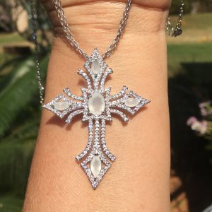 Colar Crucifixo Com Corrente Dupla Tiffany | Lanarée Acessórios