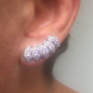 Brinco Ear Cuff Lavanda e Cristal | Lanarée Acessórios