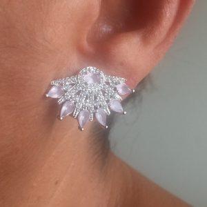 Brinco Ear Cuff Leque Quartzo Rosa | Lanarée Acessórios