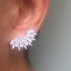 Brinco Ear Cuff Navete Quartzo Rosa | Lanarée Acessórios