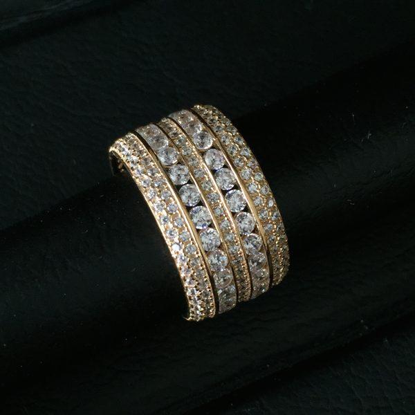 Anel de Prata Cravejado Banho Ouro | Lanarée Acessórios