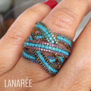 Anel Nano Turquesa Entrelaçado | Lanarée Acessórios