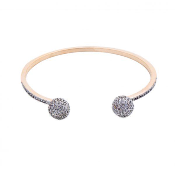 Bracelete Zircônia Laço Cheio, banhado a ouro 18k, com micro cravação de zircônias na cor cristal. Semijoia. Zircônia Cúbica.