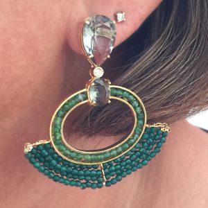 Brinco Jade Verde e Crisopázio Carina | Lanarée Acessórios
