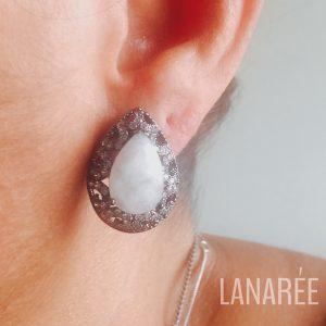 Brinco Gota Pedra da Lua Natural | Lanarée Acessórios