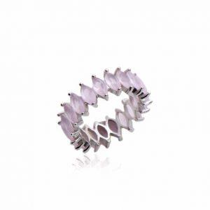 Anel Aliança Cristal Pink Navetes | Lanarée Acessórios