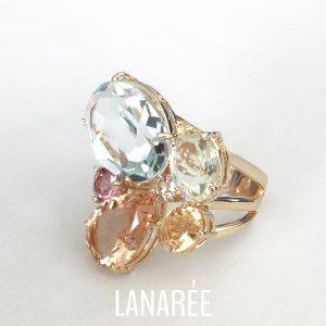Anel Cristal Morganita Alanya | Lanarée Acessórios