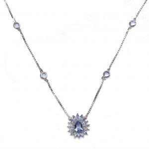Colar Gota Cristal London Blue | Lanarée Acessórios