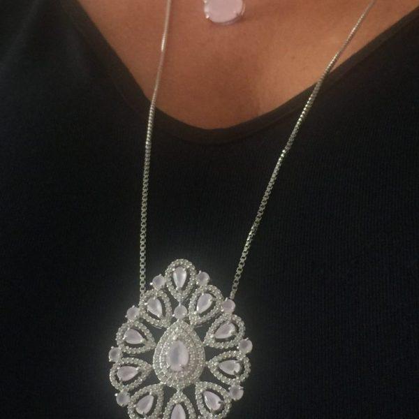 Colar Cristal Quartzo Rosa Gota | Lanarée Acessórios