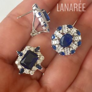 Anel Cristal Safira Retangular | Lanarée Acessórios