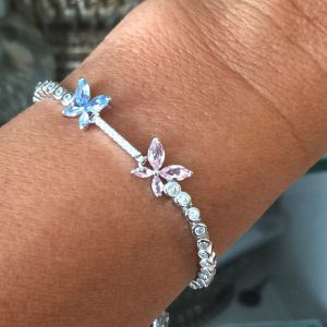 Pulseira Cristal Azul & Rosa Borboletas Regulável | Lanarée Acessórios