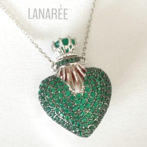 Colar Perfumeiro Coração Esmeralda | Lanarée Acessórios