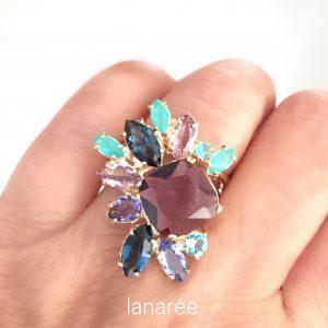 Anel Ninféia Cristal Ametista | Lanarée Acessórios