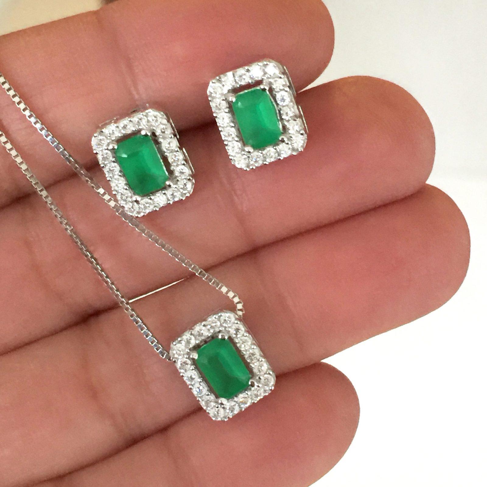 Conjunto Colar e Brinco Retangular Cristal Verde   Lanarée Acessórios