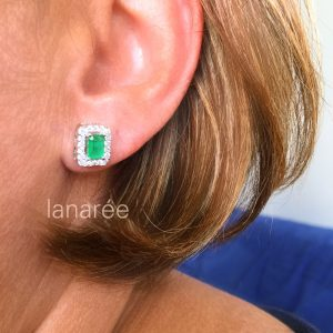 Conjunto Colar e Brinco Retangular Cristal Verde | Lanarée Acessórios