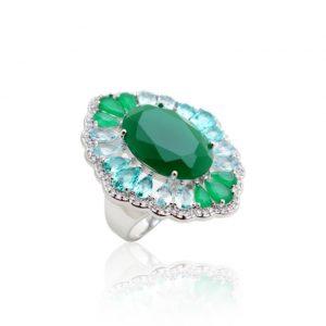 Anel Cristal Oval Esmeralda | Lanarée Acessórios