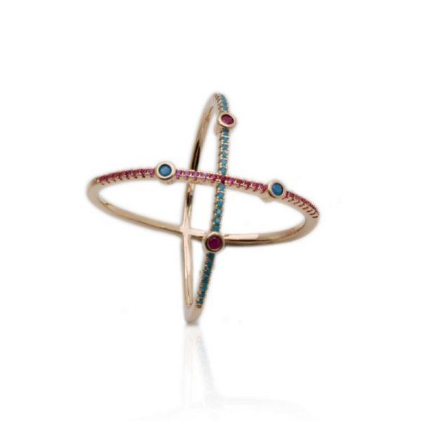 Anel Cristal Rubi Nano Turquesa X | Lanarée Acessórios
