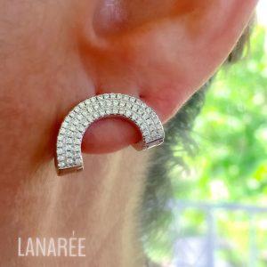 Brinco de Prata Cravejado Zircônia | Lanarée Acessórios