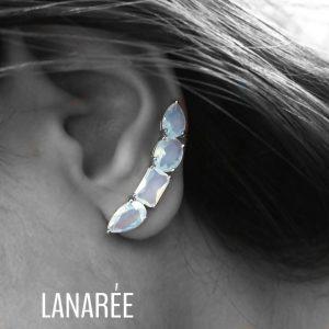 Brinco Ear Cuff Branco Vela | Lanarée Acessórios