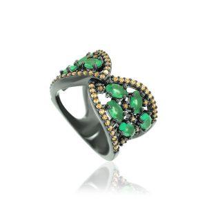 Anel Cristal Ágata Verde Ródio Negro | Lanarée Acessórios