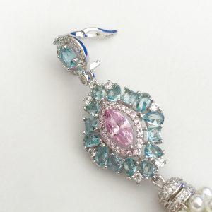Pingente Cristal Pink com Franja de Pérolas | Lanarée Acessórios