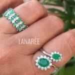 Anel de Prata 2 Ovais Esmeralda | Lanarée Acessórios