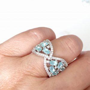 Anel Cristal Paraíba Azul Fosco | Lanarée Acessórios