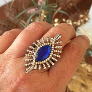 Anel Atena Cristal Safira Azul | Lanarée Acessórios