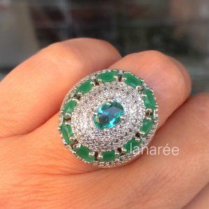 Anel Cristal Esmeralda Oval Cravejado | Lanarée Acessórios