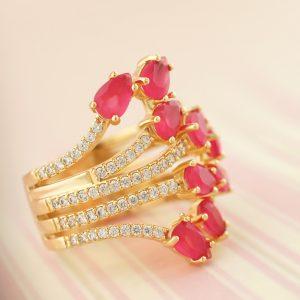 Anel Cristal Rubi Rosa Banho Ouro | Lanarée Acessórios