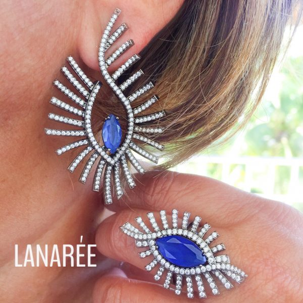 Brinco Atena Cristal Safira Azul | Lanarée Acessórios