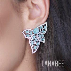 Brinco Ear Cuff Cristal Paraíba Azul Fosco | Lanarée Acessórios