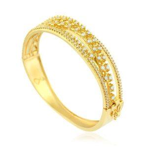 Pulseira Bracelete Afrodite Cravejada Banho Ouro | Lanarée Acessórios