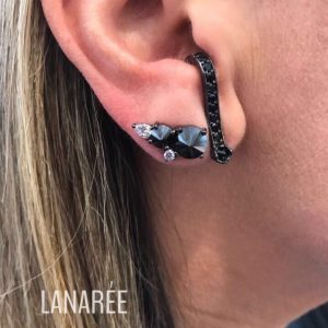 Brinco Ear Hook Zircônia Negra | Lanarée Acessórios